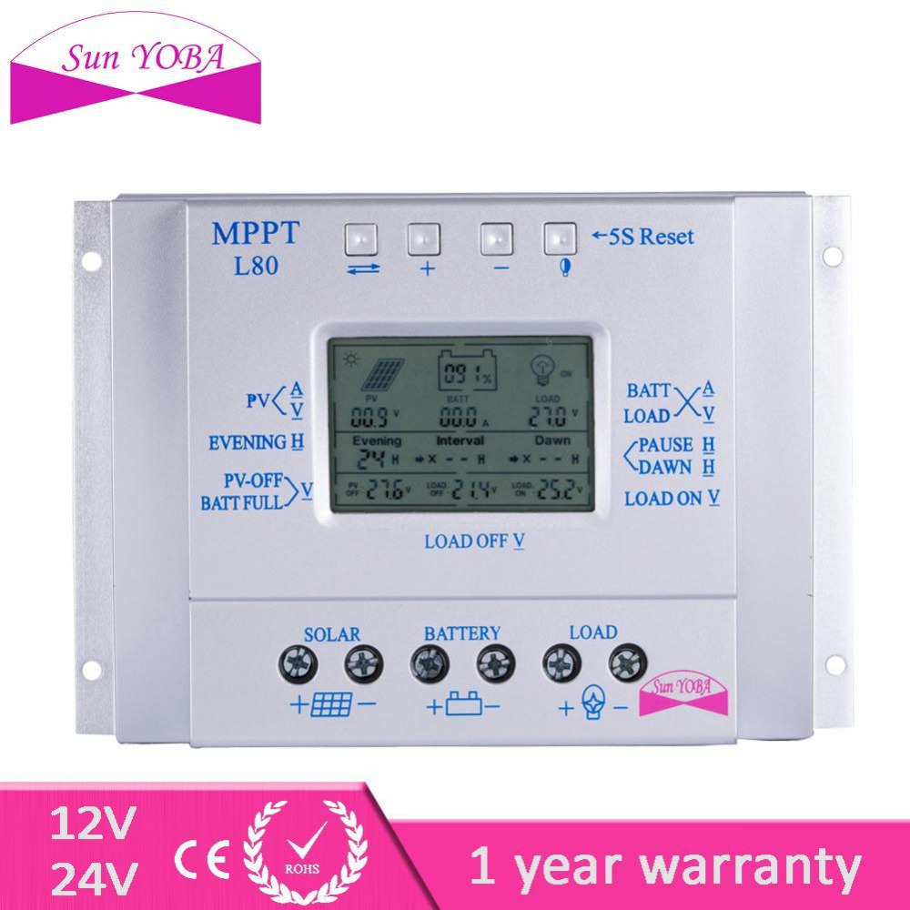LCD 80A 12V/24V MPPT Solar Controller Regulator Charge Battery Safe Protection Intelligent with Temp Sensor lp116wh2 m116nwr1 ltn116at02 n116bge lb1 b116xw03 v 0 n116bge l41 n116bge lb1 ltn116at04 claa116wa03a b116xw01slim lcd
