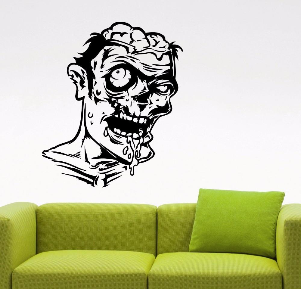 Zombie Wall Vinyl Decal Dark Horror Sticker Home Interior ...