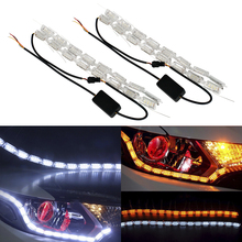 2Pcs Car DRL Flowing Flexible Switchback LED Knight Rider Strip Light for Headlight Sequential Flasher Amber Turn Signal Lights