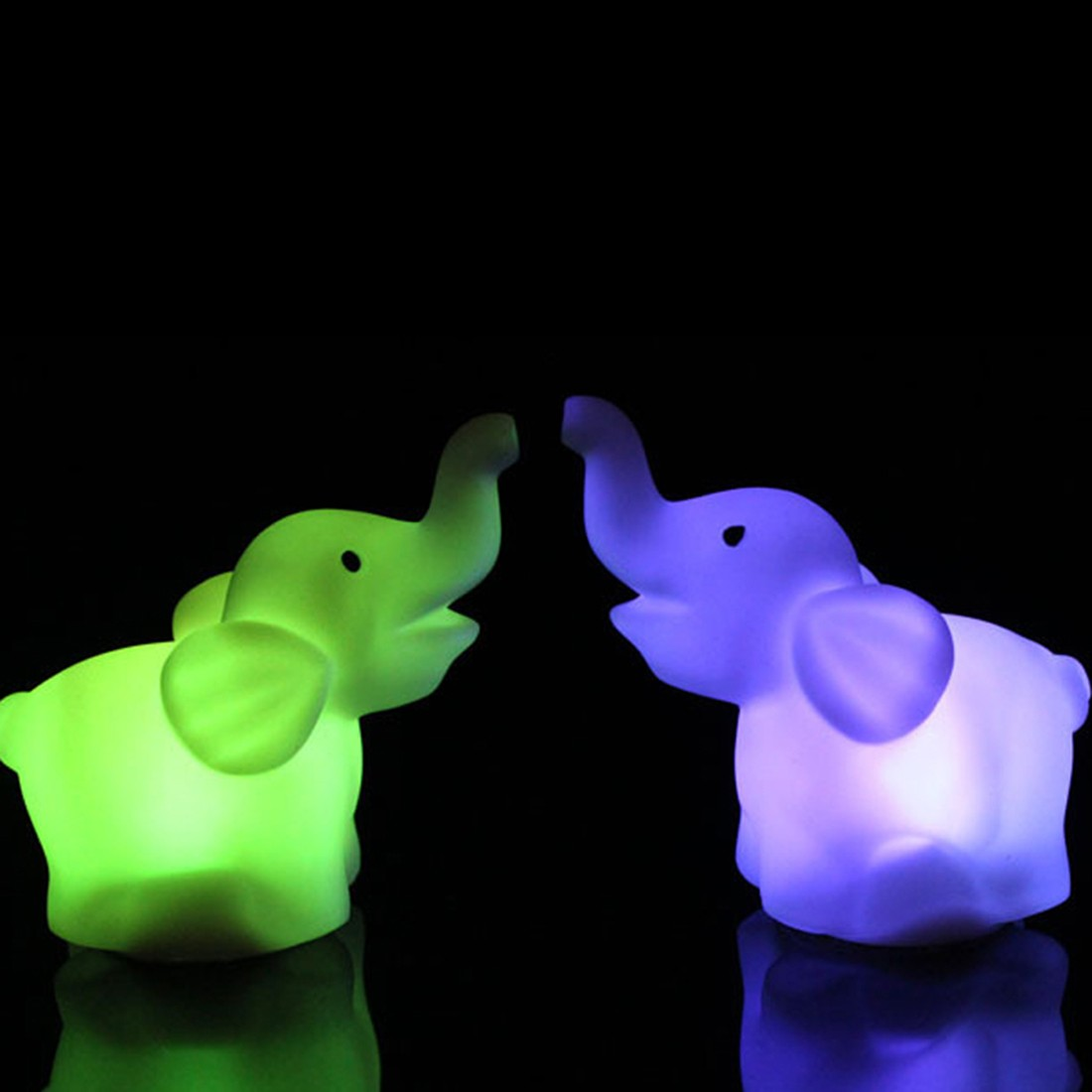 Cute Elephant Shape 7 Color Changing LED Night Light Lamp Wedding Party Decor With Battery