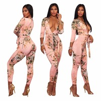 2018 Spring Women Sexy Deep V Neck Flower Print Bodysuit Pink Jumpsuit Plus Size Clothing Sashes