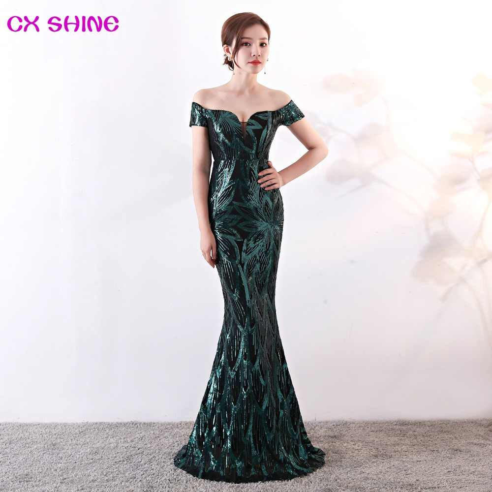 Evening Dress Pattern Sequin Gold Green Mermaid Trumpet Short Sleeve Long Prom Party Dresses Robe De Soiree Vestidos Cx Shine