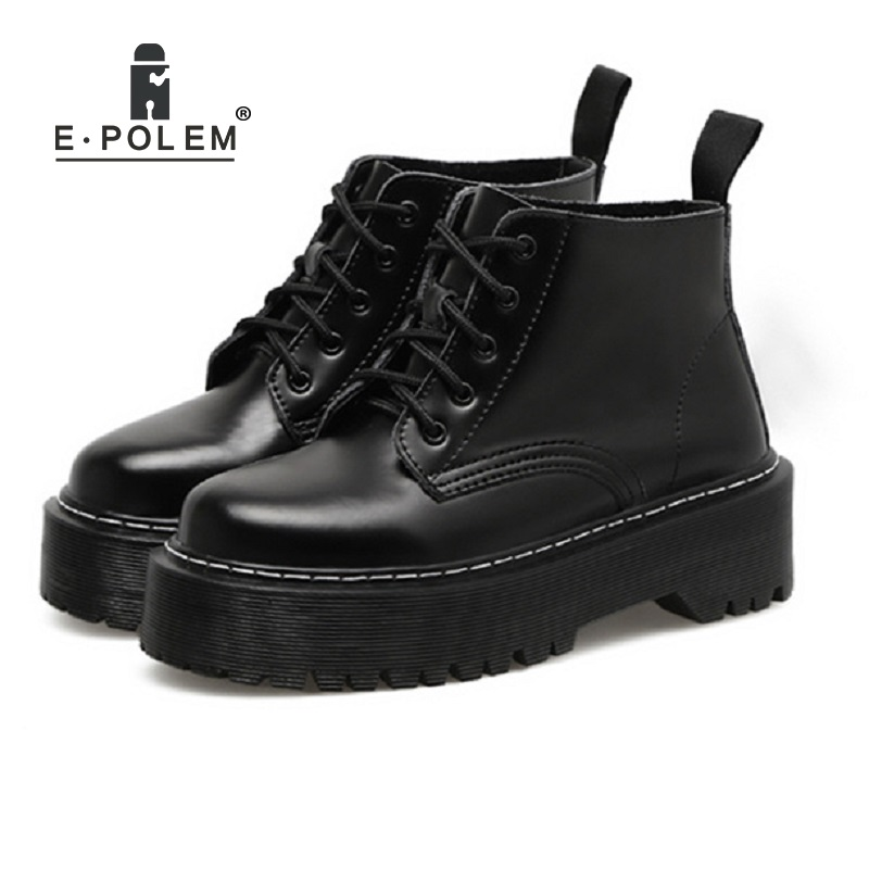 цена 2018 New British Punk Retro Short Upper Thick Sole Martin Boots Female European American Round Toe Leather Boots Flat Shoes