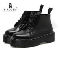 2018 New British Punk Retro Short Upper Thick Sole Martin Boots Female European American Round Toe Leather Boots Flat Shoes