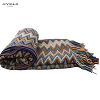 XYZLS American Style Vintage Blanket Colorful Wave Pattern Knitted Blankets Throw On Sofa/Bed/Plane Travel Patchwork Bedspread