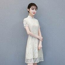 Red Black Elegant Women Slim Qipao Traditional Chinese Sexy Lace Dress Novelty Mandarin Collar Cheongsam S-XXL