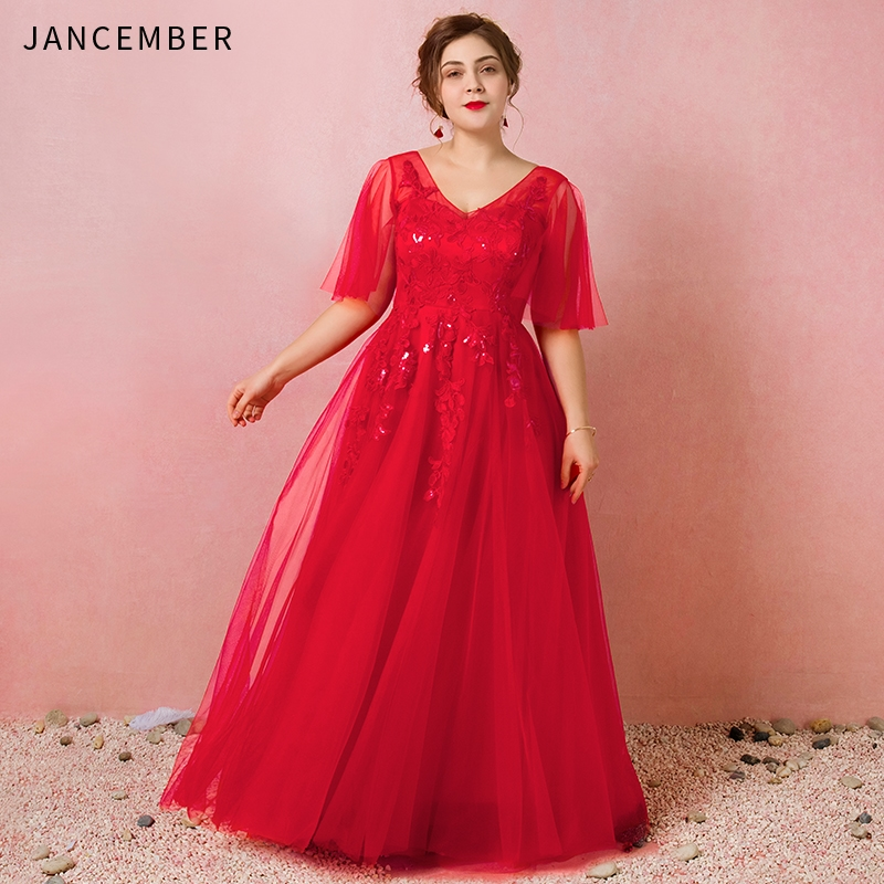 JANCEMBER Plus Size Evening Dresses Illusion Half Sleeve V-Neck Backless Lace Up Back Applique Sequins A-Line Evening Gown New