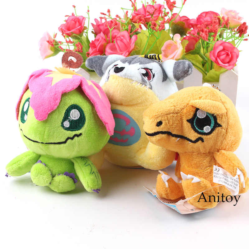Digimon Digital Monsters Digimon Adventure Palmon Gabumon Agumon Peluche Pendenti con gemme e perle Morbido Peluche Ripiene Giocattoli Bambole 10 pz/lotto