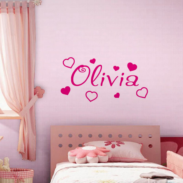 Personalised Name Cartoon Sweety Heart Pattern Wall Sticker Baby Girl  Bedroom Wallpaper Vinyl Decals Home Decor Part 74