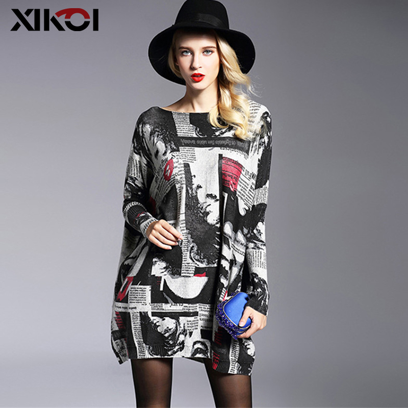 XIKOI Fashion Oversized Knitted Sweaters Women's Clothing Pullovers Jumpers Slash Neck Batwing Sleeve Long Print Sweater Shirts