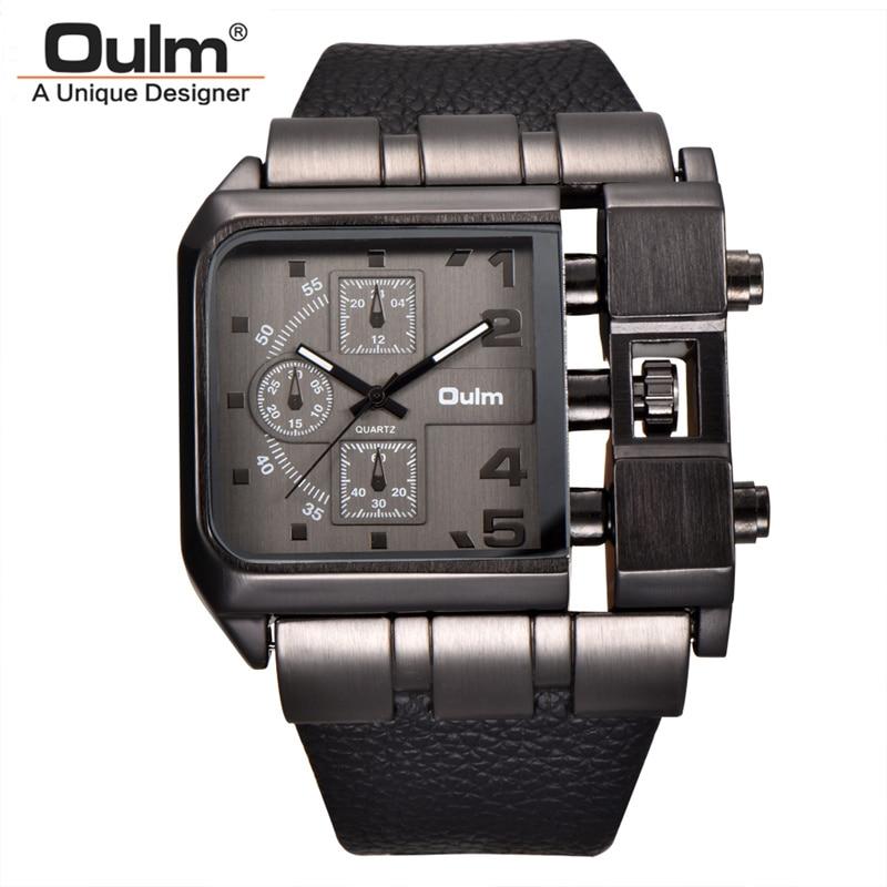 Oulm Brand Square Dial Big Size Watches Men Top Brand Luxury Sport Male Quartz Watch Wide PU Leather Wristwatch erkek kol saati