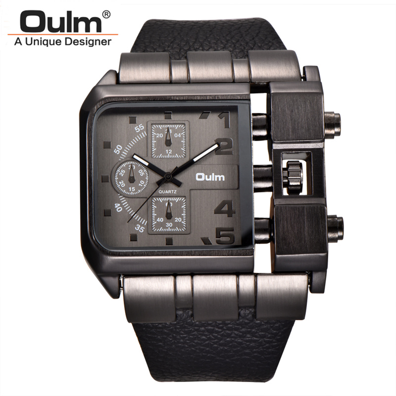 Oulm Marke Platz Dial Große Größe Uhren Männer Top-marke Luxus Sport Männlichen Quarzuhr Breite Pu-leder Armbanduhr erkek kol saati