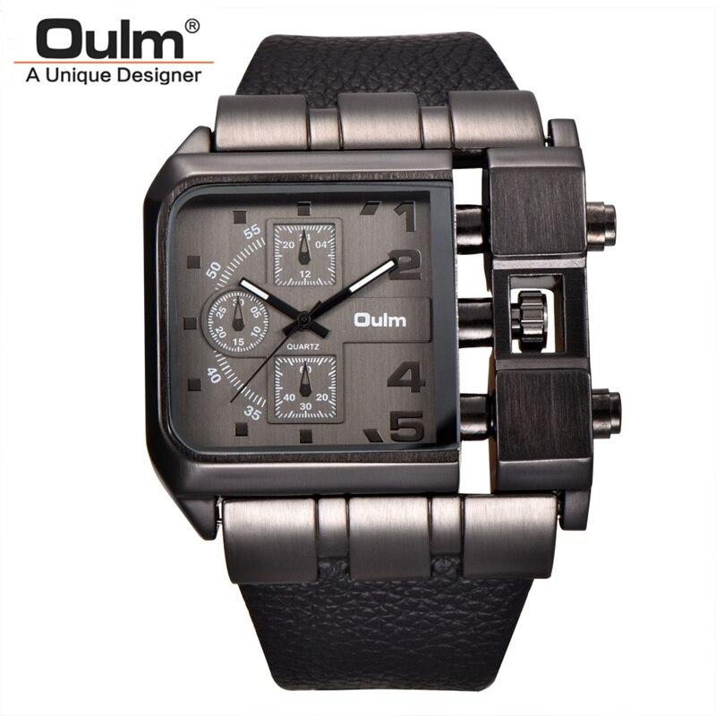 Oulm Marke Platz Zifferblatt Große Größe Uhren Männer Top Marke Luxus Sport Männlichen Quarz Uhr Breite PU-Leder Armbanduhr erkek kol saati