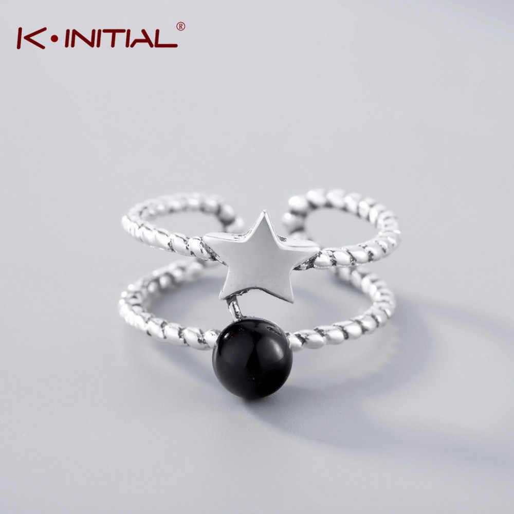 Kinitial винтажные Звездные Кольца c черным камнем для женщин регулируемые двойные витые линии античные посеребренные модные украшения для пальцев