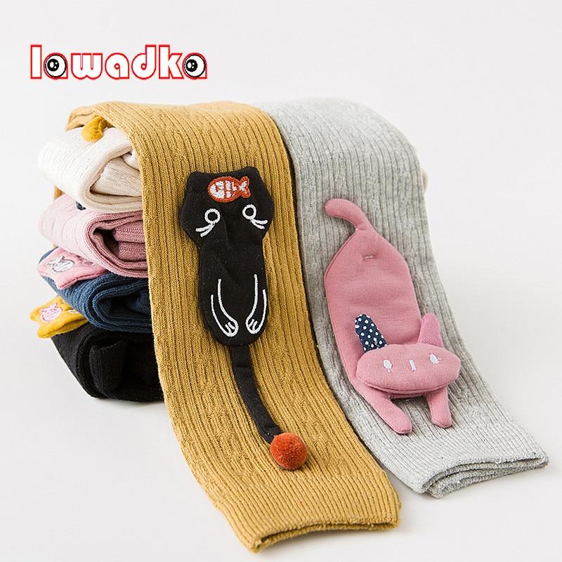 Lawadka de dibujos animados niñas medias de algodón niños medias para las niñas bebé gato comer pescado elástico en la cintura de Pantyhose Stocking