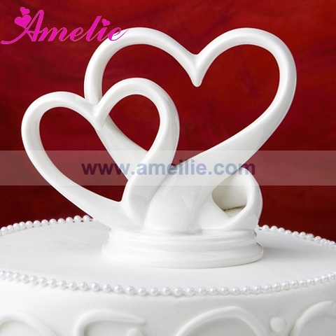 Free Shipping Wedding Decorations With Gift Box Cake Topper Retail Decoration Ceramic Double Heart Stopper In Party Favors From Home