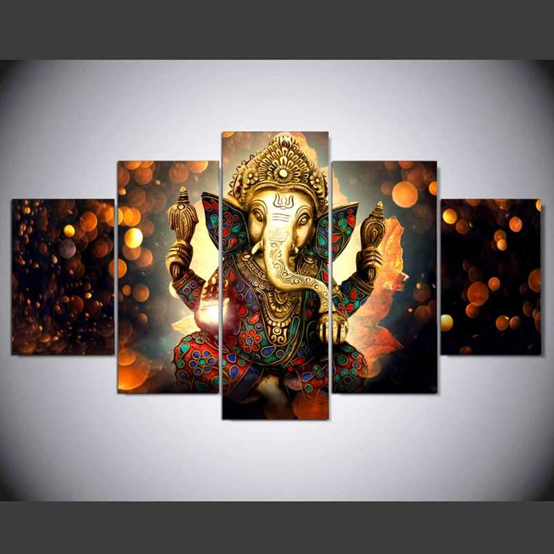 Canvas Wall Art Home Decor Voor Woonkamer HD Prints 5 Stukken Olifant Kofferbak God Modulaire Poster Ganesha Pictures PENGDA