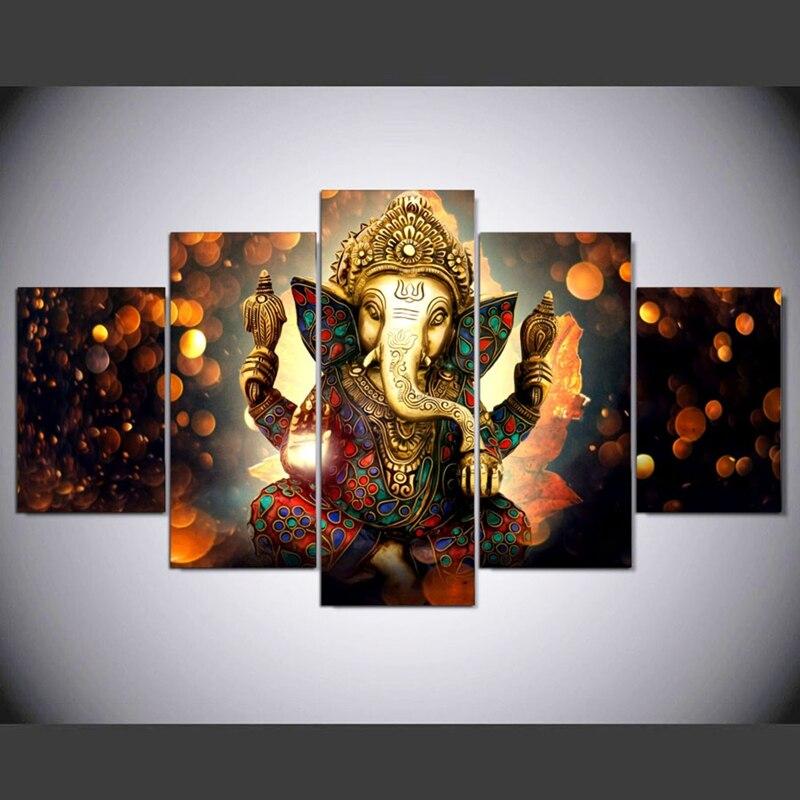 Pintura de la lona arte de la pared decoración para el hogar HD imprime 5 unidades elefante tronco Dios cartel Modular Ganesha cuadros PENGDA