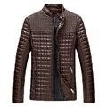 Бесплатная доставка 2017 весна осень ПУ куртка мужская вскользь уменьшают европейский стиль кожаные пальто мужчин стенд воротник куртки большой размер 5xl