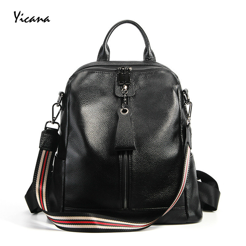 Yicana 2018 New Pattern Fashion Head Layer Cowhide Both Shoulders Package Genuine Leather Check Bring Leisure Time Travel A Bag