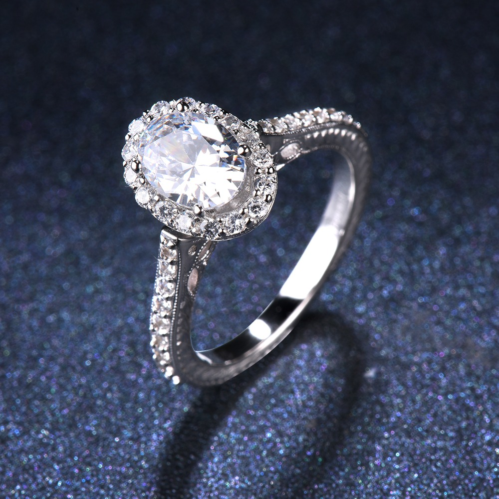 CZ Engagement Silver Ring Set Vintage Style 6.5mm Solitaire Sterling