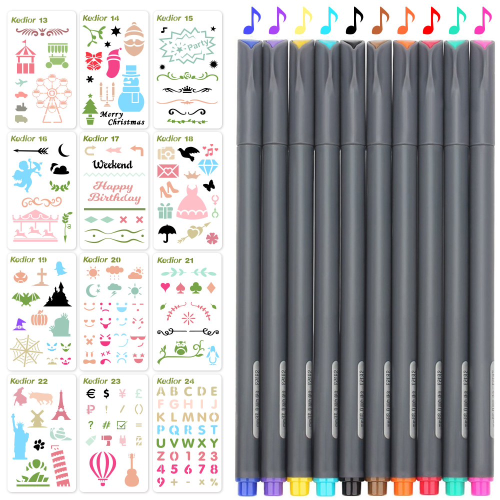 Bullet Journal Stencils and Pens,12 pieces DIY Drawing Template 10 Color Journal Pens for Notebook DIY Scrapbook Gift Card