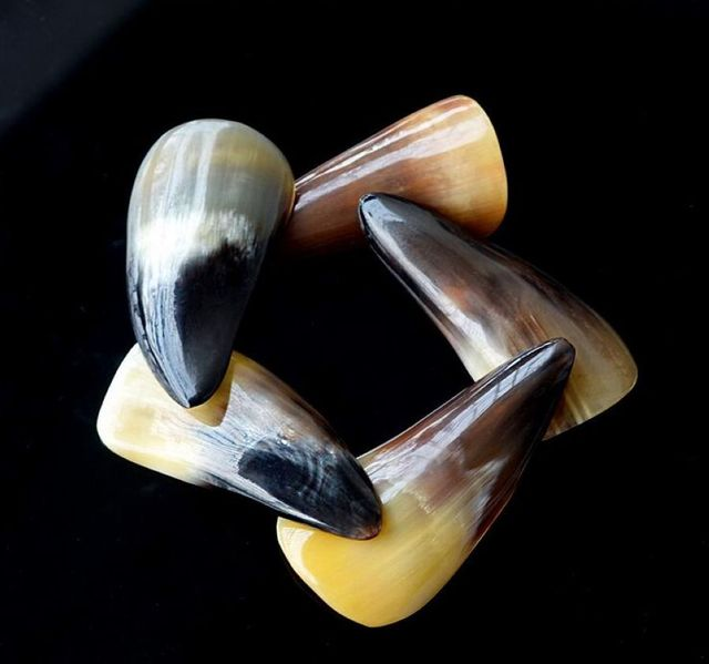 Black Buffalo Horn Gua Sha Massage Tools 2 Pcs Set