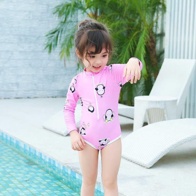 ae9f79aef68f7 ... One Piece Swimsuits Cute Little Girl Swimwear Print Long Sleeve  Bodysuit Children Summer Swimming Suit Baby ...