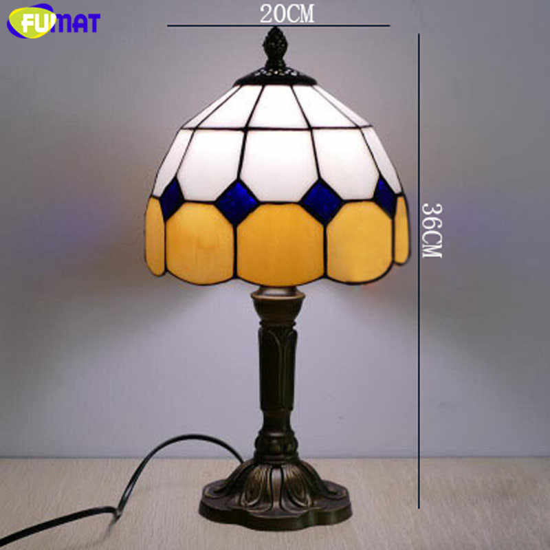 FUMAT Tiffany Table Lamp LED E27 Stained Glass Bedroom Blue Table Light 7  Inch American Children Marriage Home Deco Bedside Lamp