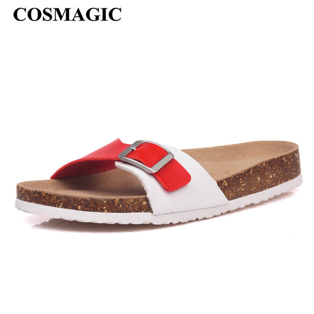 New Summer Cork Slippers Shoe Women Casual Mixed Color PU Flip Flops Beach Sandal Slides Flat Plus Size 002 5
