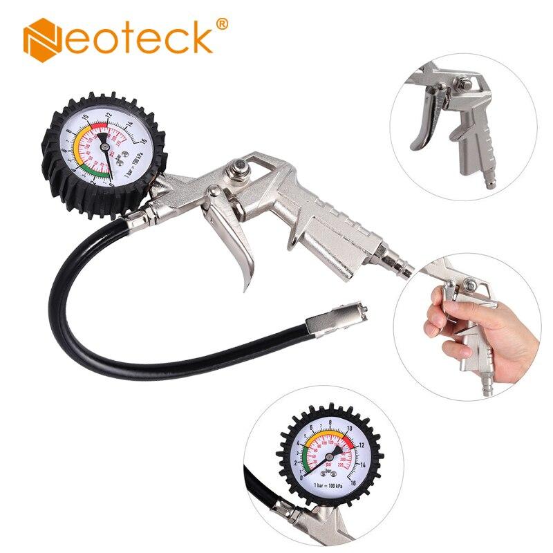 Neoteck 0-220PSI шинный воздушный инфлятор, манометр с циферблатом, 16 бар, воздушный шинный инфлятор с манометром для автомобиля, Ван инструмент, во...