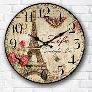 Créative décoration de la maison Vintage horloge murale Style européen horloge numérique sur mur rond en bois horloges murales au salon 34*34 cm