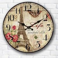 Creative Home Decoration Vintage Wall Clock Europe Style Digital Clock on Wall Round Wooden Wall Clocks to Living Room 34*34cm