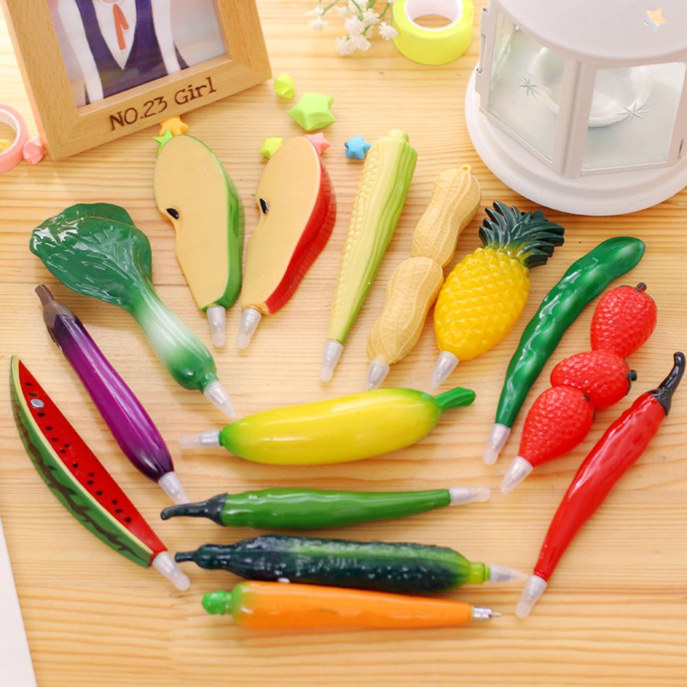 Limit Shows Cute Vegetable Plastic Fruit  Ball Pen Cartoon Creative Ballpoint Pen Biro Refrigerator Magnet Novelty Gift School