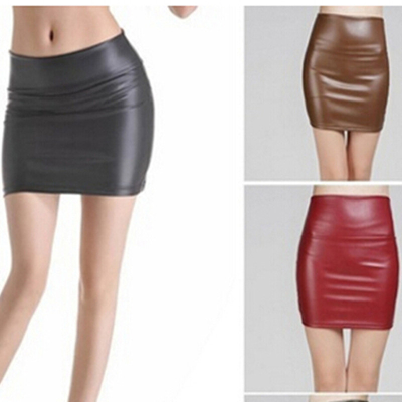 <font><b>Sexy</b></font> Back Zipper Skirt A-line Package <font><b>Hip</b></font> Mini Skirts Ladies Clothes Plus Size 3XL Summer Fashion Women Leather Short Skirt image