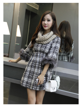 women dress winter dress Fall Winter Tartan material stitching raccoon fur cuff fashion Slim waist dress