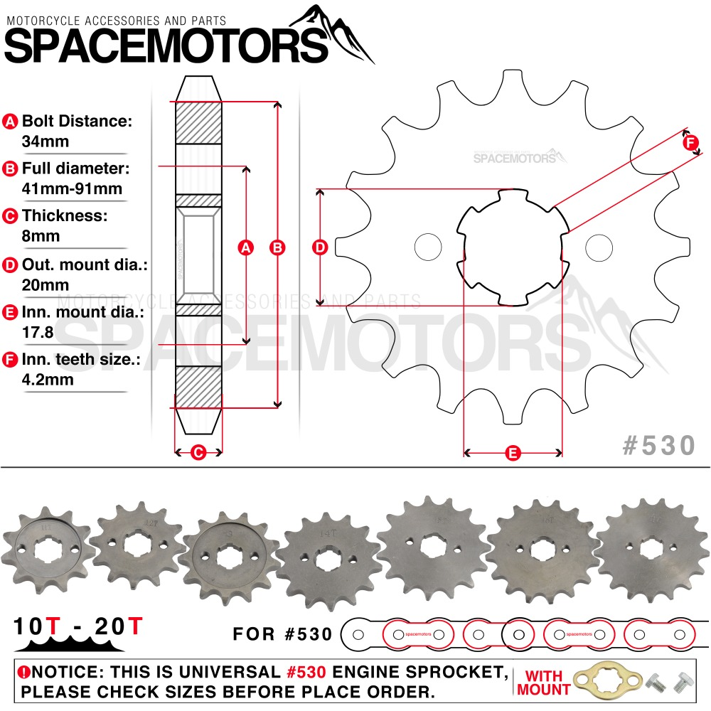 Front Engine Sprocket Star #530 10T 20T 12 13 Teeth 20mm