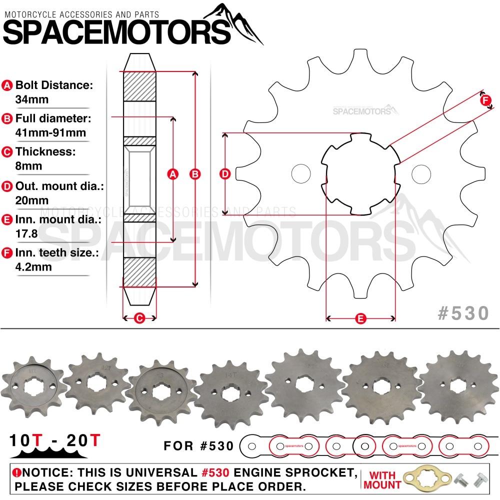 Front Engine Sprocket Star #530 10T 20T 12 13 Teeth 20mm
