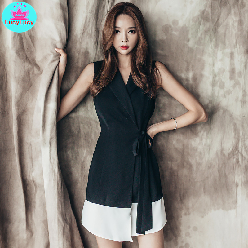 2019 summer Korean version of the color tie lace suit sleeveless sexy dress female in Dresses from Women 39 s Clothing