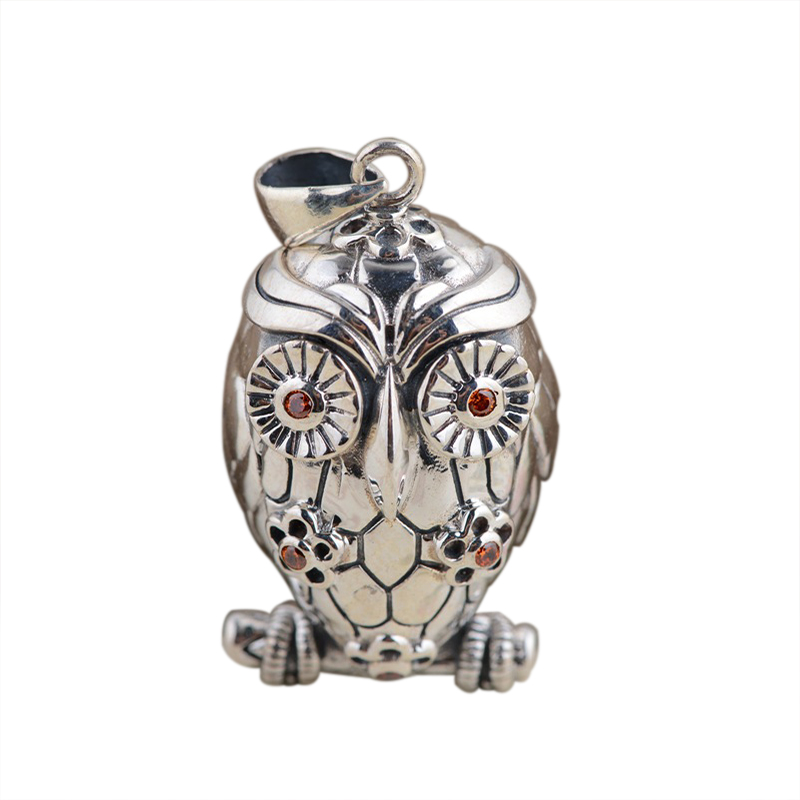 Patron Saint Owl Pendant Pure 925 Sterling Silver Vinatge Antique Style for Women