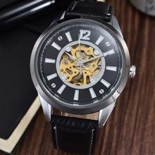 GOER бренд Мужской наручные часы Полностью автоматическая кожа Световой Скелет Спорта водонепроницаемый мужские механические часы