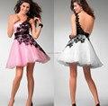 Vestido De Vestido De Cocktail encantador do laço preto Appliqued branco rosa partido Prom vestidos especial da menina por 15 anos
