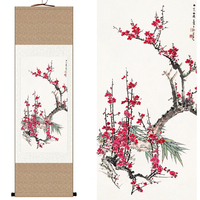 China Traditional Chinese Silk watercolor flower Plum blossom ink art print canvas wall picture damask framed scroll painting