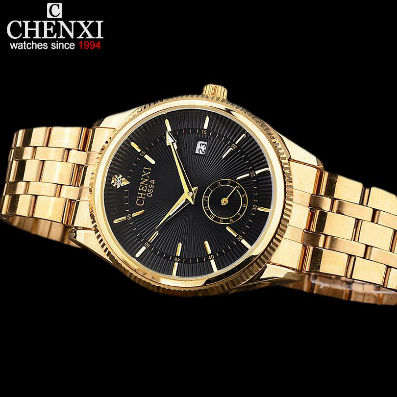 Prix pour CHENXI Montre En Or Hommes Montres Top Marque De Luxe Célèbre Montre-Bracelet Homme Horloge D'or Quartz Montre-Bracelet Calendrier Relogio Masculino