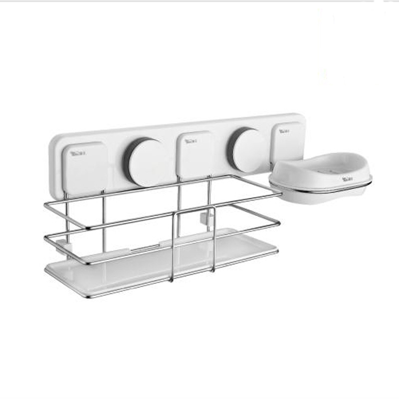 Suction Bathroom Shelf Modern Style Plastic and Stainless Steel ...
