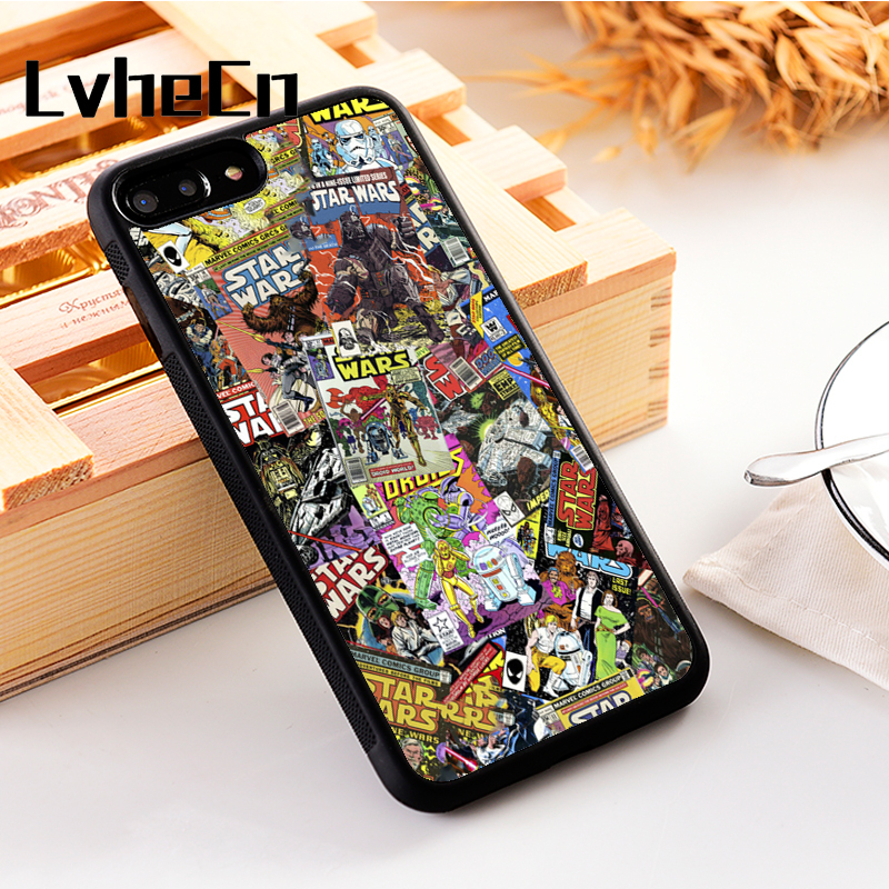 LvheCn 5 5S SE phone cover cases for iphone 6 6S 7 8 Plus X Xs Max XR Soft Silicon STAR WARS COMIC BOOK MARVEL DC DARTH VADER image