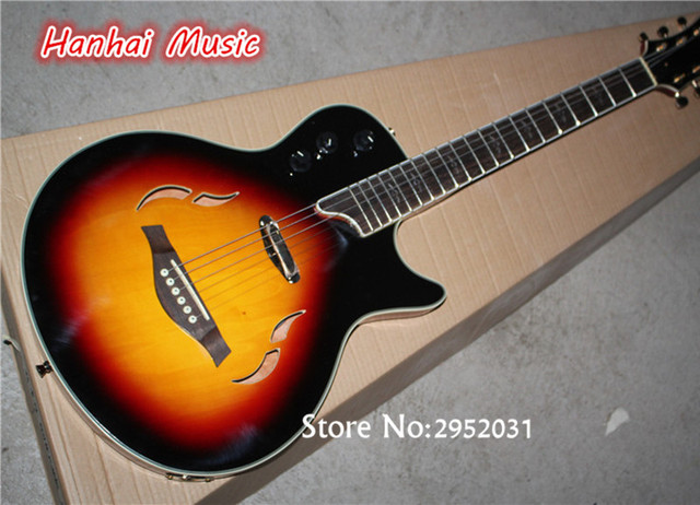 Hot Sale Custom Folk Acoustic Guitar,Sunburst Color,Semi-hollow Style,White Binding,Gold Hardware,can be Customized