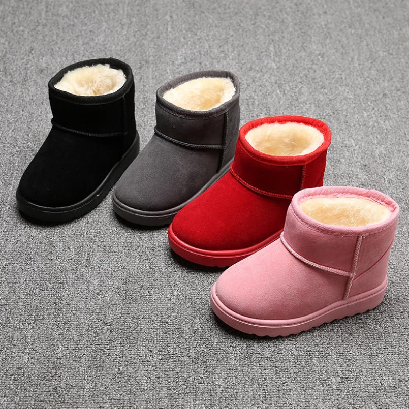 HaoChengJiaDe Rubber Boots Soft Kids Boot Girls Slip-resistant Popular Rubber Boots Cotton Padded Flat Boys Winter Snow Boots