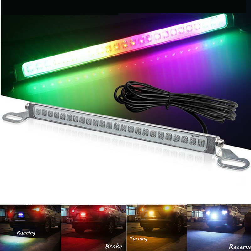 Universal Car License Plate Light Waterproof Exterior 12V 24 LED 1200Lm <font><b>Follow</b></font> Colorful License Plate Light Brake light Car Lamp image