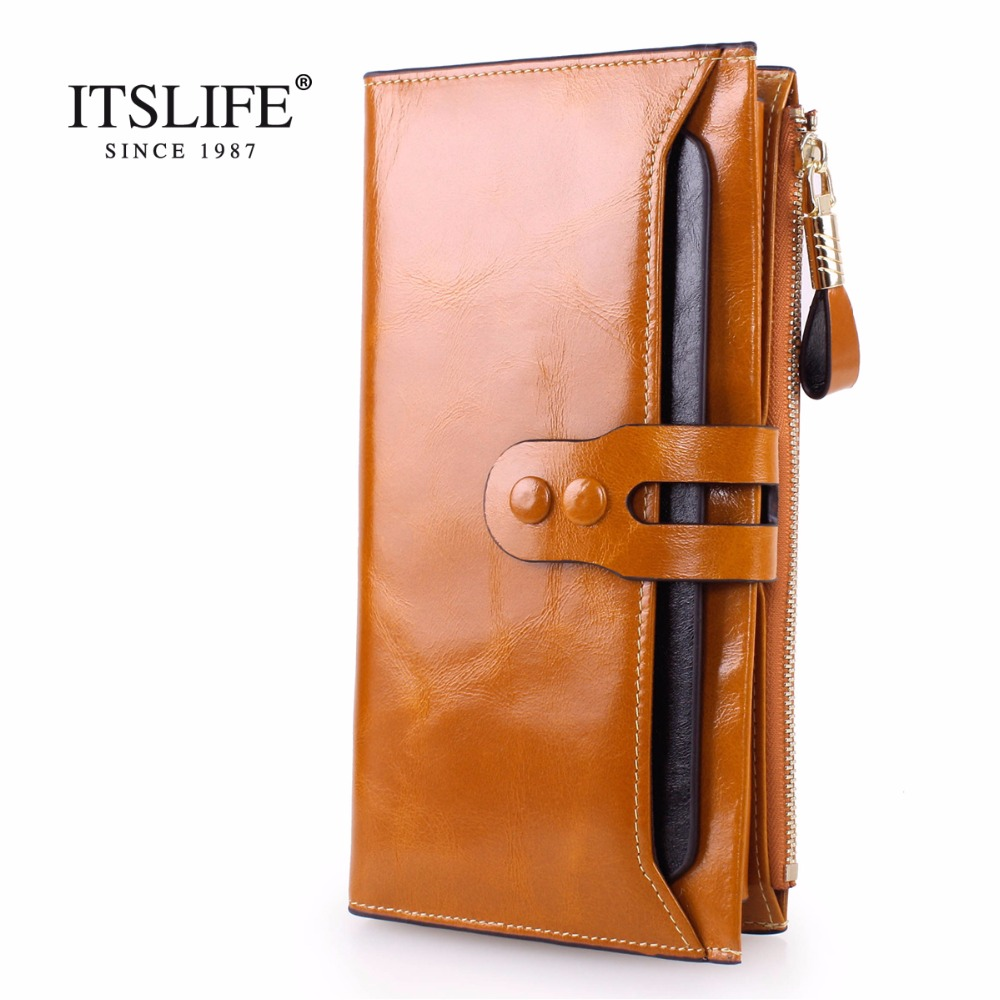2018 New Arrival Women Wallets Genuine Leather High Quality Long Design Clutch Cowhide Wallet High Quality Fashion Female Purse 2018 new women wallets oil wax genuine leather high quality long design day clutch cowhide wallet fashion female card coin purse page 5